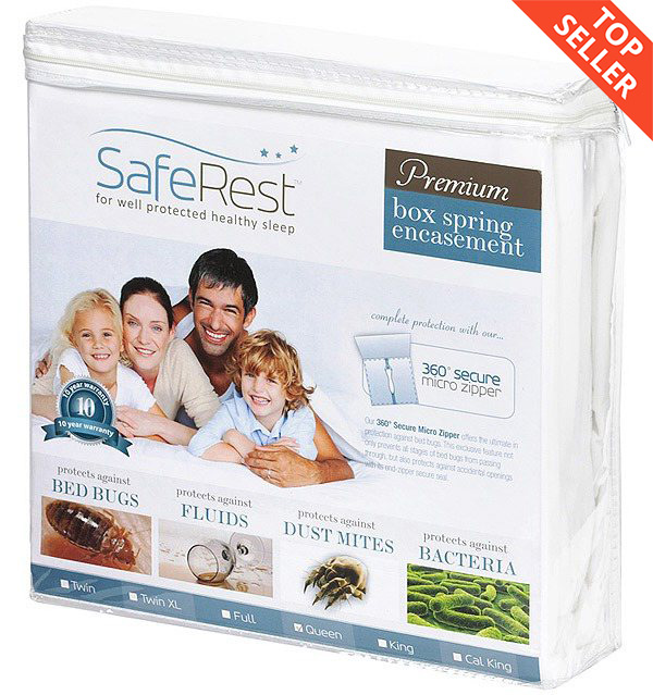 "saferest premium bed bug proof box spring encasement (up to 9"")"