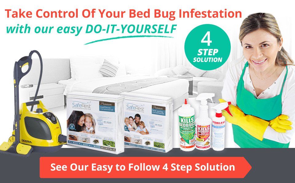 Take Control Of Your Bed Bug Infestation, with our easy DO-IT-YOURSELF 4-STEP Solution