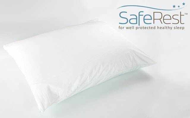 SafeRest Pillow Encasement on Bed