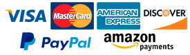 Pay via Visa, Mastercard, American Express, Discover, PayPal, or Amazon Payments
