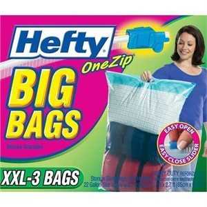 "Hefty Sealed Big Bags With Patented One Zip Feature For Travel & Bed Bug Infestations (3 Pack) 24"" x 32"" XXL"
