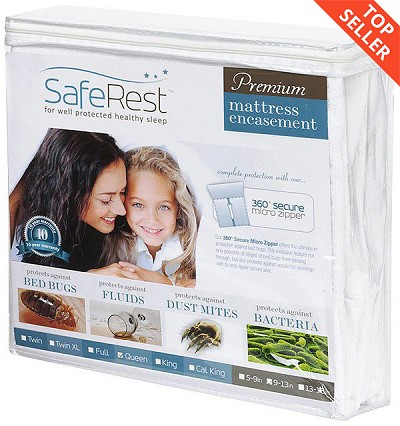 "SafeRest Premium Hypoallergenic Waterproof Zippered Certified Bed Bug Proof Mattress Encasement (fits 12""- 15"")"