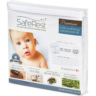 "SafeRest Premium Hypoallergenic Zippered Certified Bed Bug Proof Crib Mattress Encasement (fits up to 6"")"