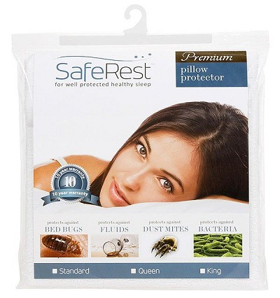 SafeRest Premium Hypoallergenic Waterproof Zippered Bed Bug Proof Pillow Encasement